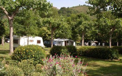 Le grand terrain de camping arboré du camping Narbaitz